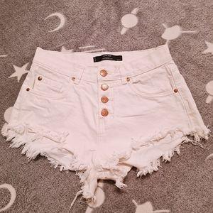 Factorie 8 White Denim Low Rise Sexy Summer Shorts